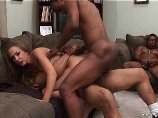 College girl in twin tails is gangbanged by 5 black guys