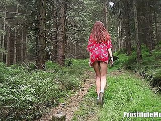 Redhead Teen Fucked yon Fetch yon along to Forest