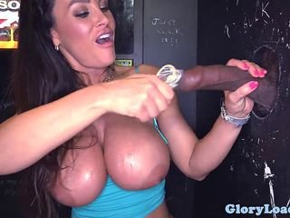 Bigtitted gloryhole milf cocksucks fence cock