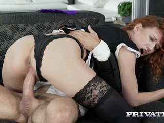 Astonishing curly redhead from Russia Stasy Riviera gets nailed doggy brawler